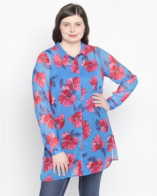 Blue Floral Long Shirt