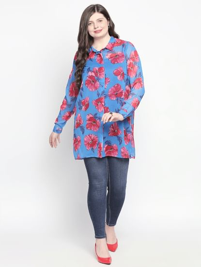 Blue Floral Long Shirt