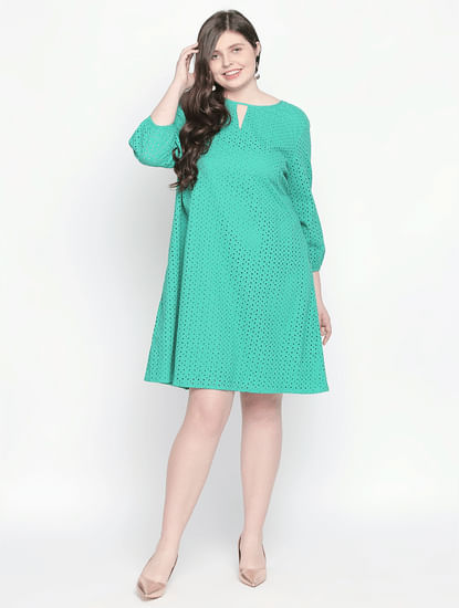 Green Cut Work Shift Dress