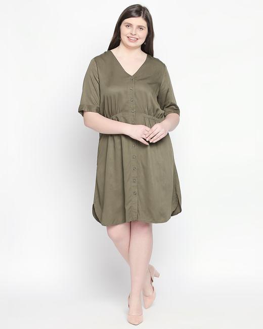 Olive Green Shift Dress