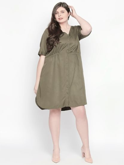 Olive Green Shift Dress