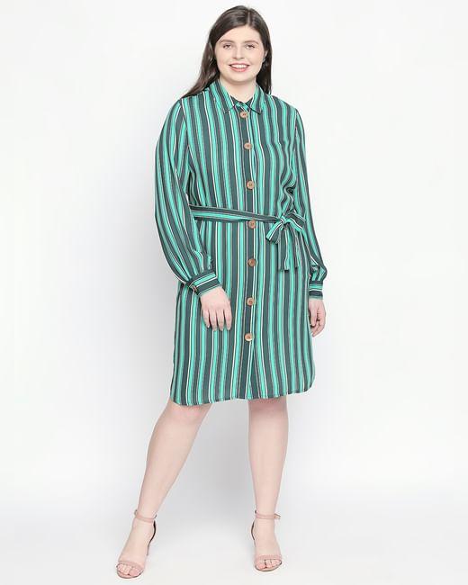 Green Striped Shirt Dress