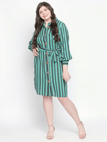 Green Striped Shirt Dress