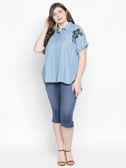 Blue Embroidered Denim Shirt