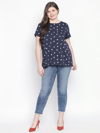 Navy Blue Polka Dot Print T-shirt