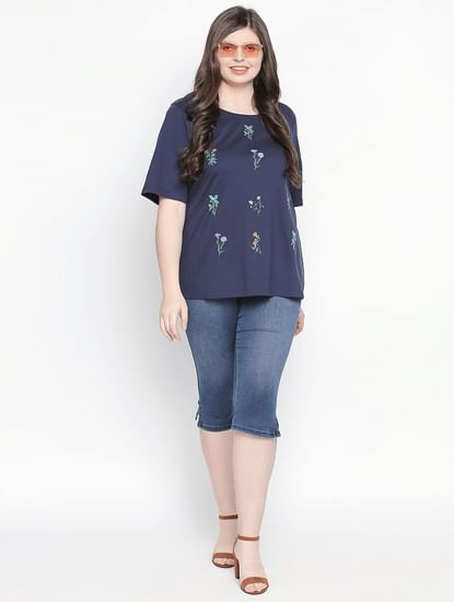Navy Blue Embroidered T-shirt