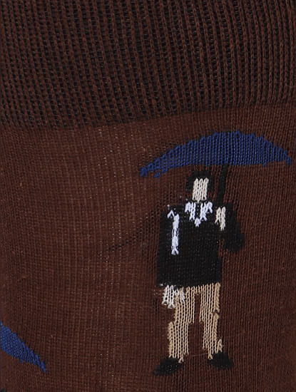 Brown Graphic Print Mid Calf Length Socks