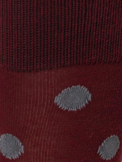 Maroon Polka Dot Mid Calf Length Socks