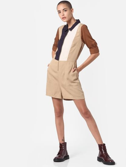Brown Colourblocked Playsuit