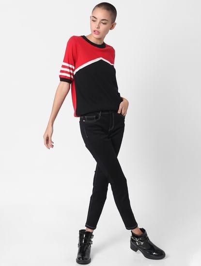 Red Colourblocked Pullover