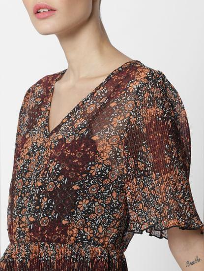 Brown Floral Print Shift Dress