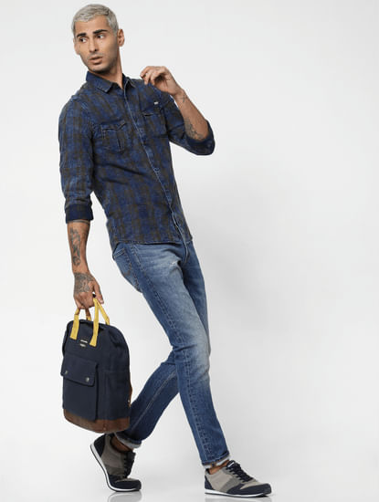 Dark Brown Check Denim Full Sleeves Shirt