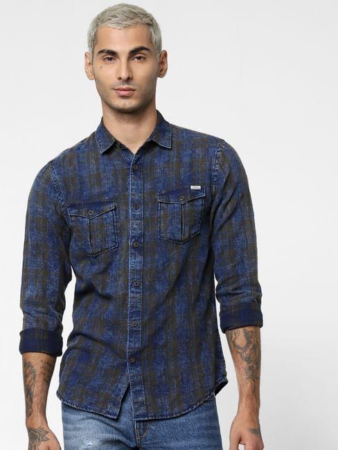 Dark Brown Check Denim Full Sleeves Shirt