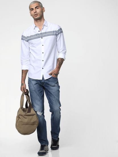 White Striped Patch Full Sleeves Shirt