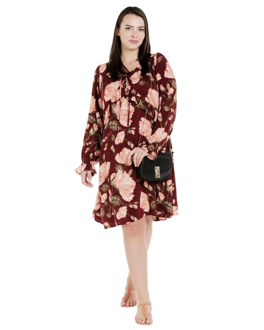 Wine Floral Print Shift Dress