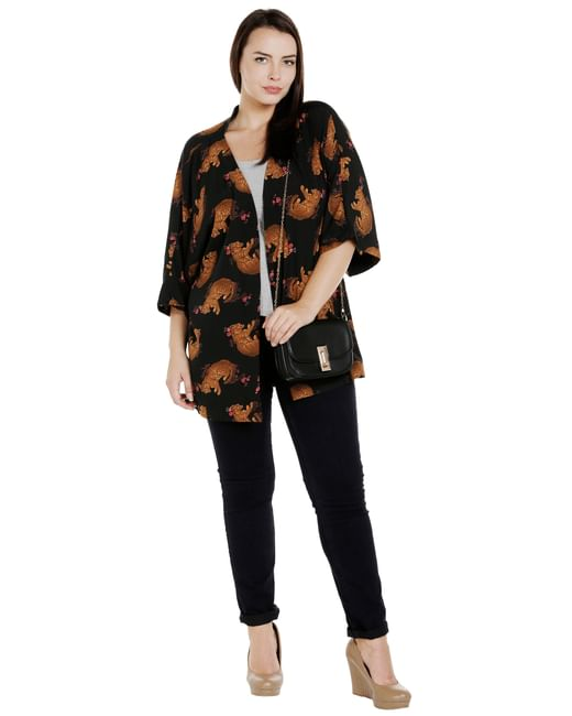 Black All Over Print Shrug