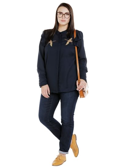 Navy Blue Frill Detail Shirt