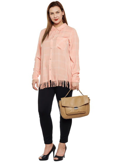 Coral Check Fringe Shirt