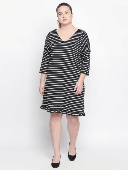 Black Striped Shift Dress