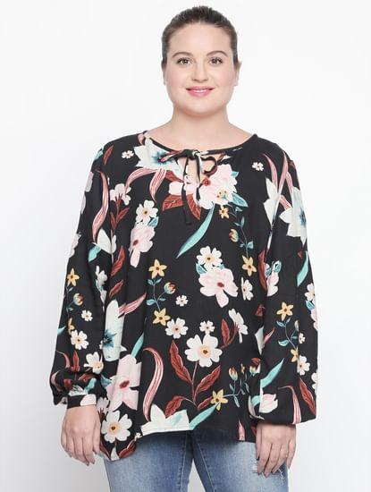 Black Floral Print Top