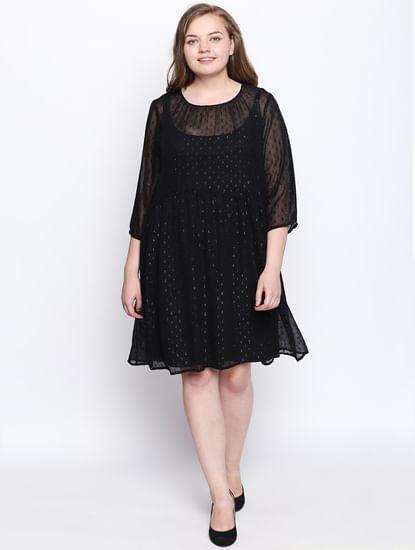 Black Printed Sheer Shift Dress