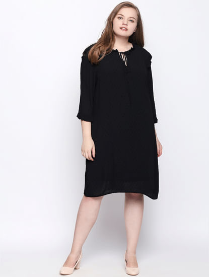 Black Ruffle Shift Dress