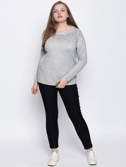 Grey Embellished Pullover