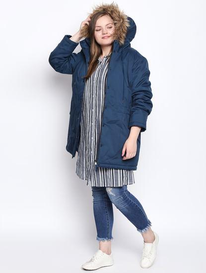 Blue Fur Hood Parka Jacket