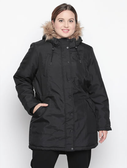 Black Fur Hood Parka Jacket