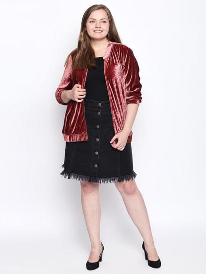 Black Frayed Hem Denim Skirt