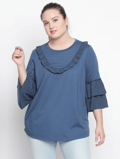 Blue Layered Sleeves Top