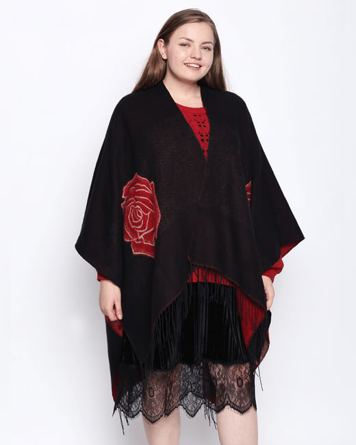 Black Printed Kimono