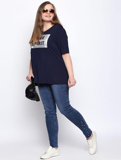 Navy Blue Text Print T-shirt