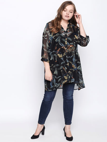 Black Printed Sheer Long Shirt