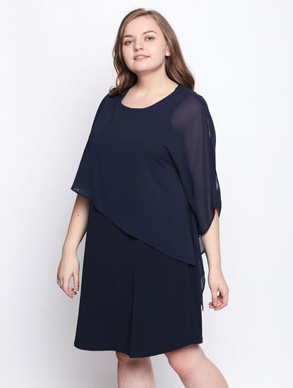 Navy Blue Flounce Shift Dress