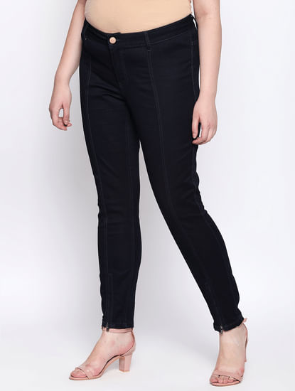 Dark Blue Split Hem Slim Fit Jeans