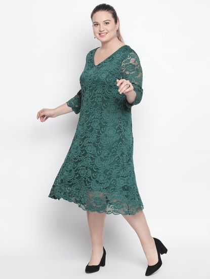 Dark Green Lace Midi Dress