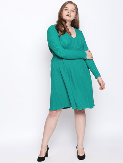 Green Fit & Flare Dress