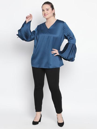 Blue Pleated Sleeves Top