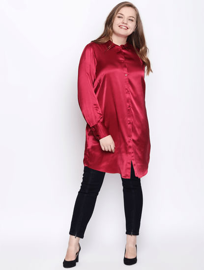 Red Satin Long Shirt