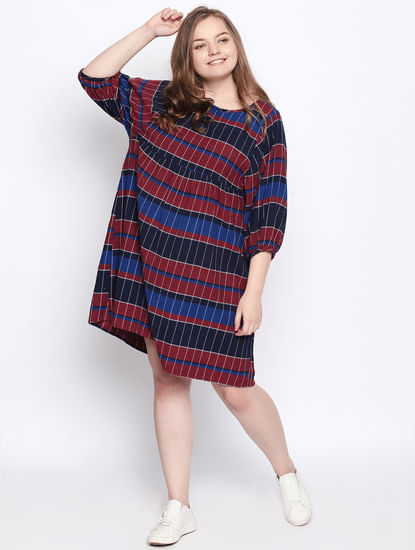 Navy Blue Check Shift Dress