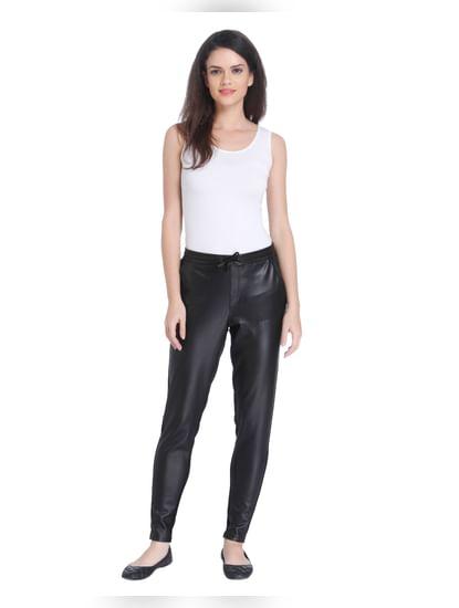 Black Mid Rise Faux Leather Pants