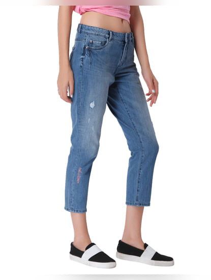 Blue Mid Rise Slim Fit Distressed Jeans