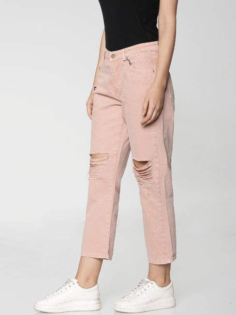 Pink High Rise Distressed Comfort Fit Jeans