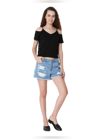 High Mid Rise Distressed Shorts