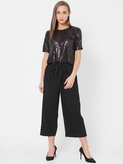Black High Rise Cropped Pants