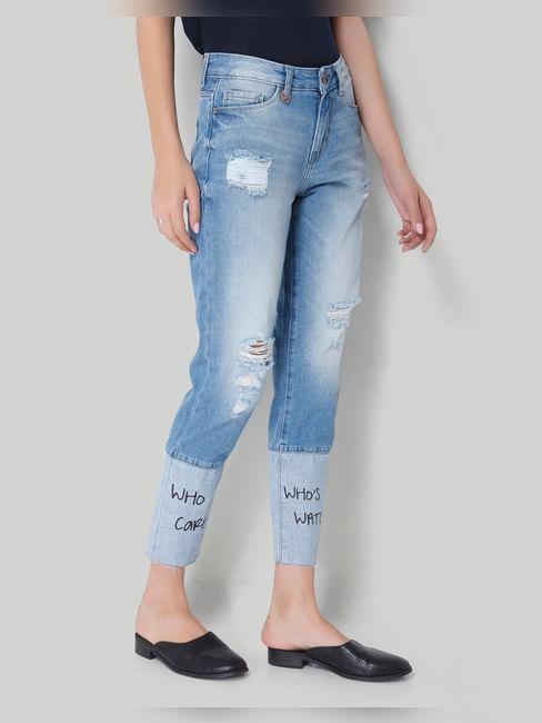 Blue Mid Rise Slogan Print Jeans