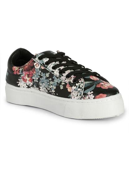 Black Floral Sneakers
