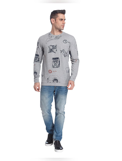 Light Grey All Over Print Sweatshirt