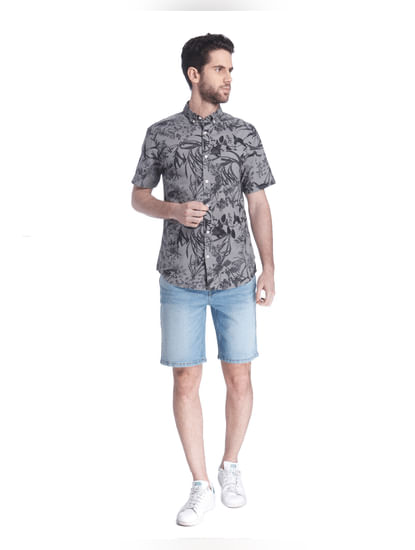 Grey All Over Print Short Sleeves Shirt